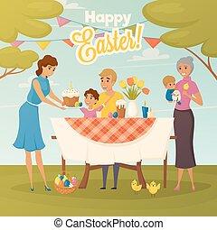 平ら, 夕食, イースター, 家族, ポスター