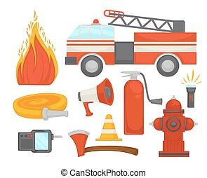 平ら, 安全である, 保護, アイコン, 火, ポスター, 消防士, 装置, ベクトル, チーム, 救出, 消すこと