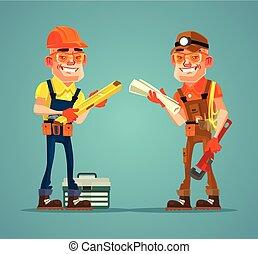 平ら, 微笑, 一生懸命働く, 特徴, 2, イラスト, 論じなさい, ベクトル, plan., 建設, 建築者, 漫画, 幸せ