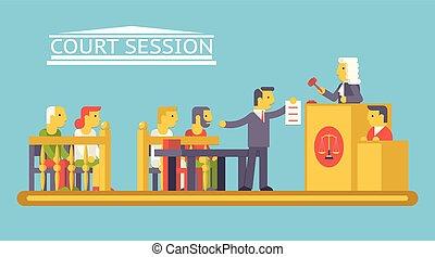 平ら, 提唱者, 法廷, 特徴, ludge, 正義, 現代, 現場, イラスト, ベクトル, デザイン, 弁護士, 最新流行である, 法律, 被告, テンプレート