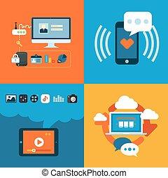平ら, 概念アイコン, モビール, apps, 電話, デザインを設定しなさい, 網, サービス