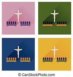 平ら, 概念アイコン, 人々, 長い間, 教会, 影