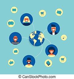 平ら, 概念, グループ, ネットワーク, 社会, デザイン, インターネット