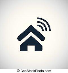 平ら, 概念, 単純である, wifi, 要素, デザイン, 家, アイコン
