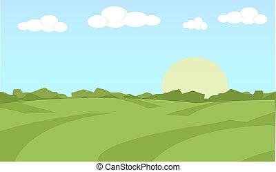 平ら, 概念, 有機体である, illustration., 景色。, 農場, concept., イラスト, 食物, 農地, バックグラウンド。, (どれ・何・誰)も, 風景, design.