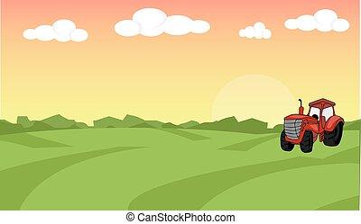 平ら, 概念, 有機体である, illustration., 農場, concept., tractor., バックグラウンド。, 農地, 食物, (どれ・何・誰)も, 風景, design.