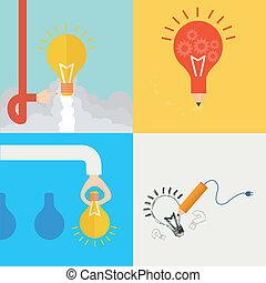 平ら, 概念, 考え, 要素, デザイン, アイコン