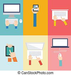 平ら, 概念, 要素, コンピュータ, デザイン, アイコン