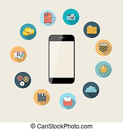 平ら, 概念, illustration., モビール, apps, 電話, ベクトル, デザイン