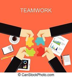 平ら, 概念, illustration., 議論, solution., ブレーンストーミング, 作成しなさい, 仕事, イラストビジネス, チーム, チームワーク, 計画, ミーティング, 開発, チームワーク, デザイン, 概念, 作戦