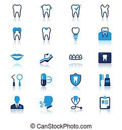 平ら, 歯医者の, 反射, アイコン