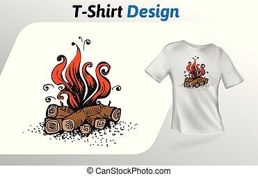 平ら, 漫画, 隔離された, の上, tシャツ, バックグラウンド。, ベクトル, デザイン, mock, 白, print., template., たき火, テンプレート