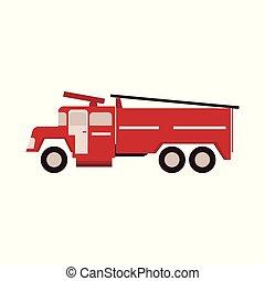 平ら, 火, はしご, firetruck, 隔離された, イラスト, バックグラウンド。, ベクトル, 白, engine., 赤
