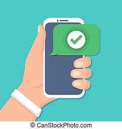 平ら, 点検, アイコン, 手, smartphone, デザイン, 保有物
