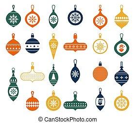 平ら, 白, illustration., スタイル, 引かれる, コレクション, 木。, baubles., クリスマス, ベクトル, 現代, ボール, 装飾, art., バックグラウンド。, 安っぽい飾り, クリップ, 手, 美しい