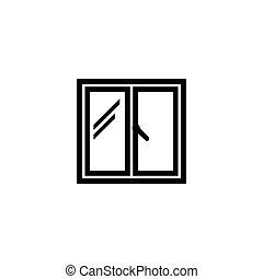 平ら, 窓, ベクトル, アイコン