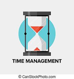 平ら, 管理, イラスト, 時間