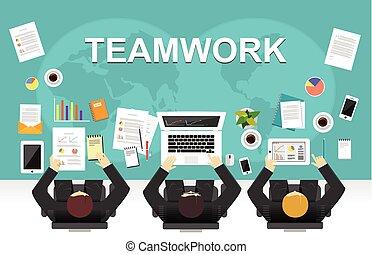 平ら, 管理, illustration., オフィス, 議論, concept., 仕事, イラストビジネス, チーム, チームワーク, strategy., チームワーク, ミーティング, ワークスペース, 概念, デザイン, 創造的