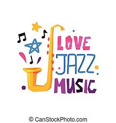 平ら, 紋章, ノート。, festival., 抽象的, ジャズ, オリジナル, サクソフォーン, ベクトル, デザイン, 星, ロゴ, ミュージカル