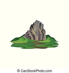 平ら, 自然, 山, 大きい, 囲まれた, grass., 登山, 野生, 主題, ベクトル, 風景, 自然, 石, element., アイコン