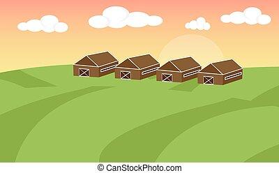平ら, 農地, illustration., 景色。, 農場, concept., イラスト, フィールド, ベクトル, バックグラウンド。, 風景