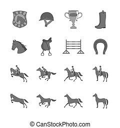 平ら, 馬, セット, ライダー, アイコン