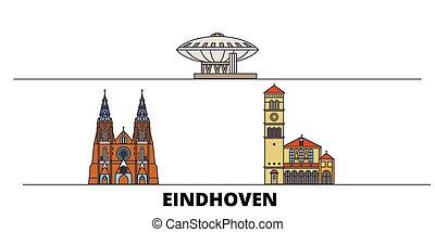 平ら, eindhoven, illustration., 都市, ランドマーク, 有名, ベクトル, 光景, netherlands, 線, スカイライン, 旅行, design.