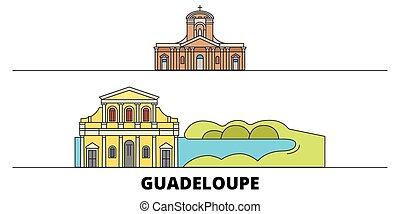 平ら, guadeloupe, illustration., 都市, ランドマーク, 有名, ベクトル, 光景, 線, スカイライン, 旅行, design.