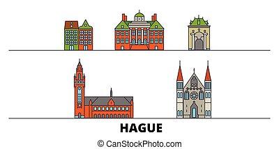 平ら, hague, illustration., 都市, ランドマーク, 有名, ベクトル, 光景, netherlands, 線, スカイライン, 旅行, design.
