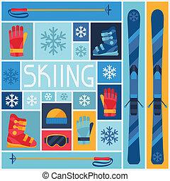 平ら, icons., スポーツ装置, 背景, スキー