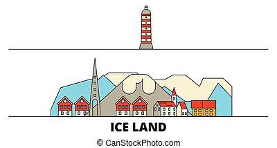 平ら, illustration., 都市, アイスランド, ランドマーク, 有名, ベクトル, 光景, 線, スカイライン, 旅行, design.