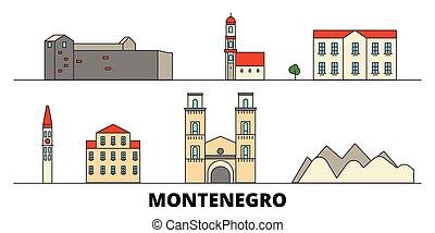 平ら, illustration., 都市, ランドマーク, モンテネグロ, 有名, ベクトル, 光景, 線, スカイライン, 旅行, design.