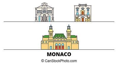 平ら, illustration., 都市, ランドマーク, 有名, ベクトル, 光景, モナコ, 線, スカイライン, 旅行, design.