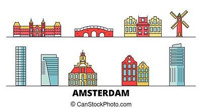 平ら, illustration., 都市, ランドマーク, 有名, ベクトル, 光景, netherlands, アムステルダム, 線, スカイライン, 旅行, design.