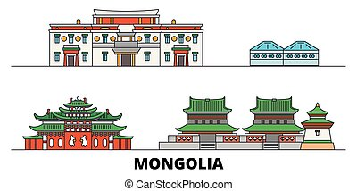 平ら, illustration., 都市, ランドマーク, mongolia, 有名, ベクトル, 光景, 線, スカイライン, 旅行, design.