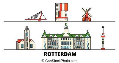 平ら, rotterdam, illustration., 都市, ランドマーク, 有名, ベクトル, 光景, netherlands, 線, スカイライン, 旅行, design.