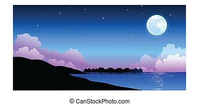 平和である, フルである, 上に, 月