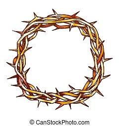 平面図, キリスト, 王冠, とげ, イエス・キリスト, 色, ベクトル
