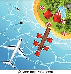 平面図, 空, 飛行機, 海洋