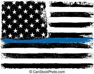 年を取った, gamut., バックグラウンド。, モノクローム, 薄くなりなさい, アメリカ人, 黒, ライン。, グランジ, white., 旗, 青