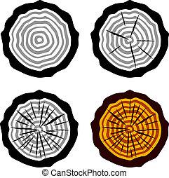 年輪, シンボル, ベクトル, 成長, トランク