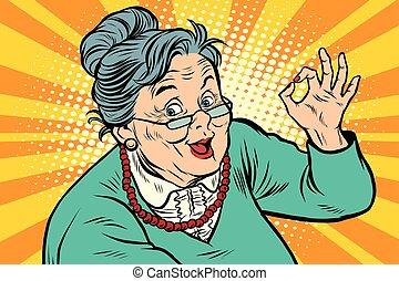 年配, ジェスチャー, 祖母, オーケー