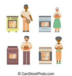 年長者, 料理, chiken, 女性, 人々, 女性, 平ら, イラスト, オーブン, アメリカ人, fryipan, 男性, 家, バーガー, アフリカ, パイ, 別, タイプ