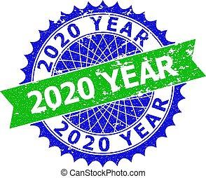 年, 二色, ロゼット, 2020, シール, 切手, グランジ