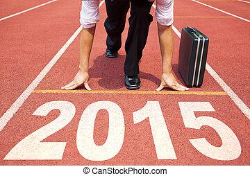 年, 動くこと, 準備, 新しい, ビジネスマン, 2015., 幸せ