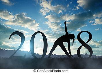 年, 新しい, 女の子, 練習する, 2018, ヨガ