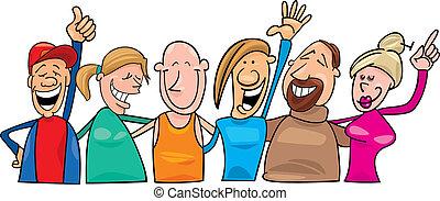 幸せ, グループ, 人々
