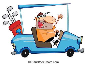 幸せ, ゴルファー, ドライブする, カート, ゴルフ