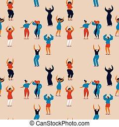 幸せ, ダンス, パターン, seamless, womens, 日, 女性