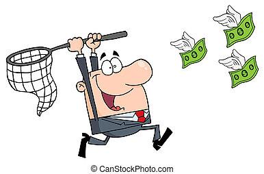 幸せ, ビジネスマン, お金, 追跡